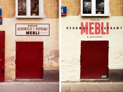 Works of furniture renovation and repair signboard